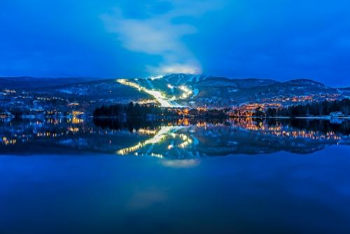 Mont-Tremblant, hiver, réflexion, longue exposition, photo de nuit